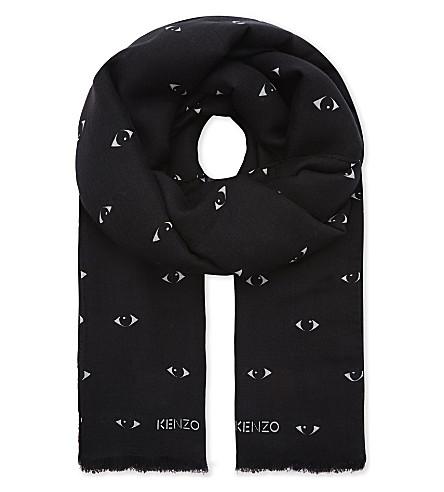KENZO Eyes print modal-silk blend scarf (Black