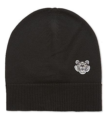 KENZO Tiger embroidered wool beanie (Black