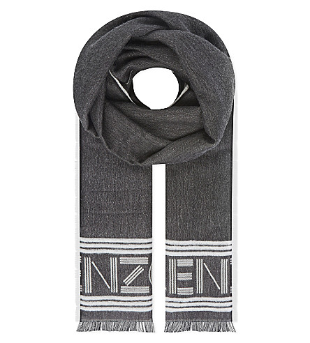KENZO Wool-blend sports stole (Black