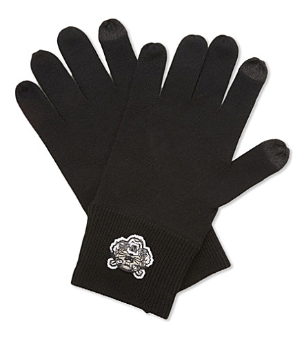 KENZO Tiger embroidered wool gloves (Black