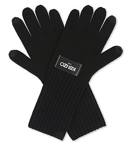 KENZO Brand labelled woollen gloves (Black