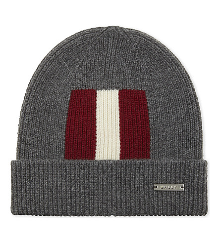 BALLY Trainspotting striped beanie hat (Grey+light