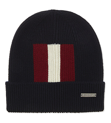 BALLY Trainspotting striped beanie hat (Ink