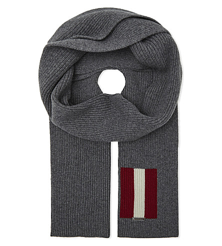 BALLY Trainspotting wool scarf (Grey+light