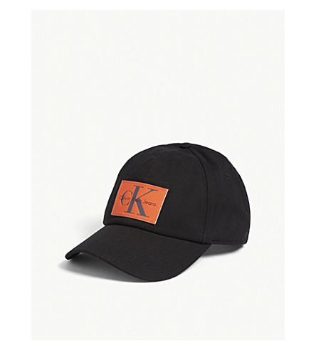 CALVIN KLEIN Leather patch cotton cap (Black