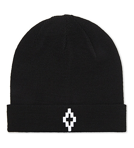 MARCELO BURLON Cruz wool beanie (Black+white