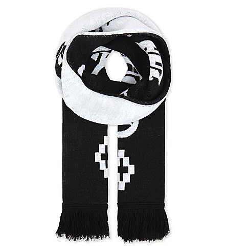 MARCELO BURLON Kimi reversible scarf (Black+white