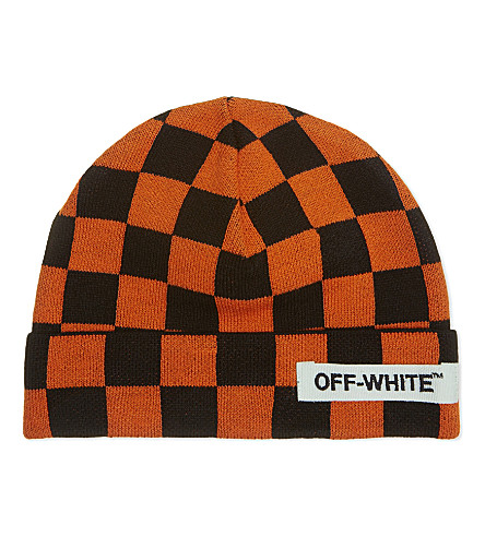 OFF-WHITE C/O VIRGIL ABLOH Big Checker knitted beanie (Orange+black