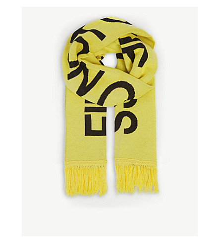 OFF-WHITE C/O VIRGIL ABLOH Firetape cotton-blend scarf (Yellow+black