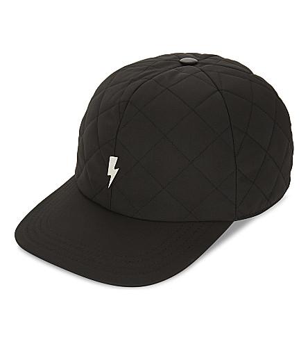 NEIL BARRETT Lightning bolt quilted baseball cap (Black