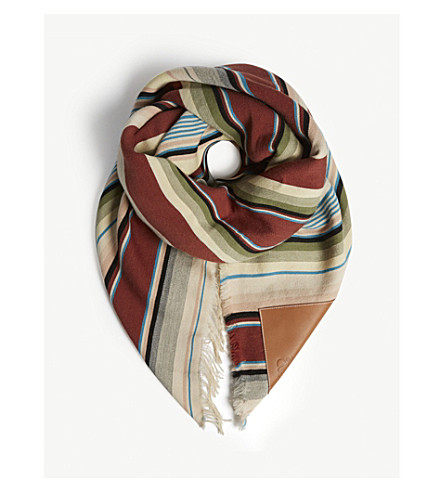 LOEWE Multi-coloured striped wool scarf (Multicolour