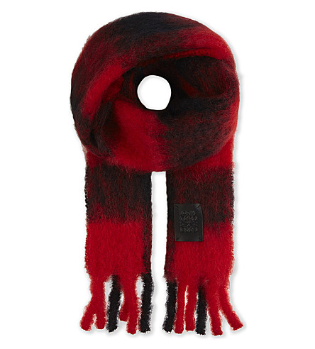 LOEWE Checked mohair-wool blend scarf (Red/black