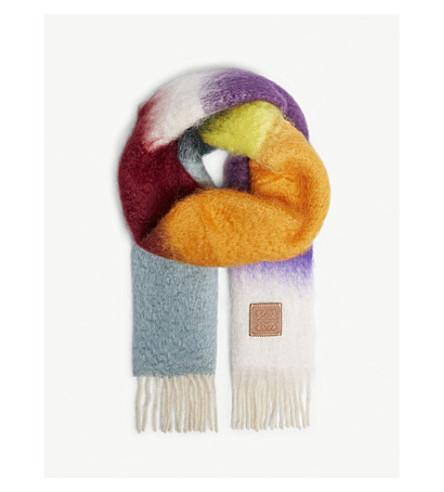 LOEWE Multi-coloured mohair-blend scarf