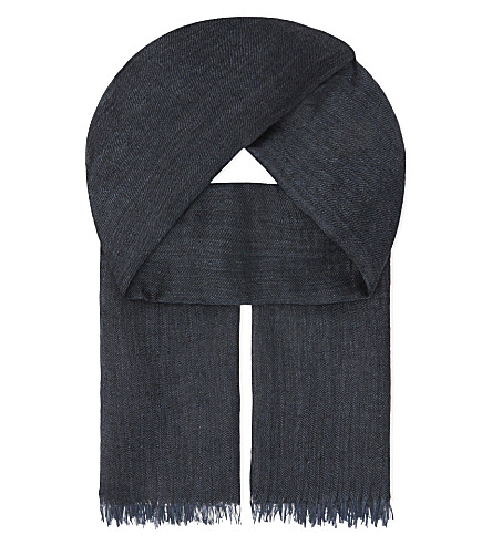 BEGG AND CO Staffa cashmere & silk scarf (Dark+denim
