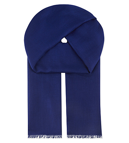 BEGG AND CO Wispy cashmere scarf (French+blue