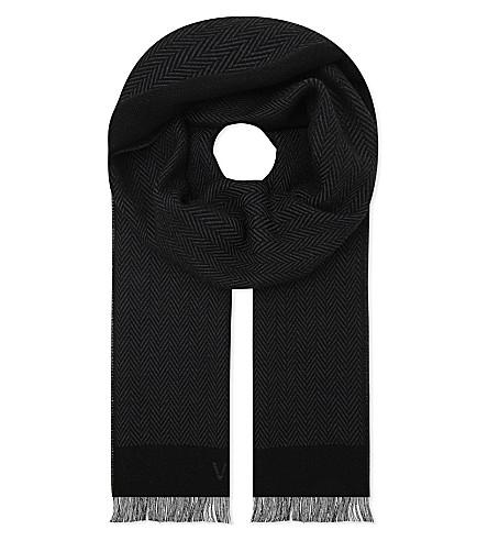 VERSACE Medusa print herringbone wool scarf (Grey+pewter