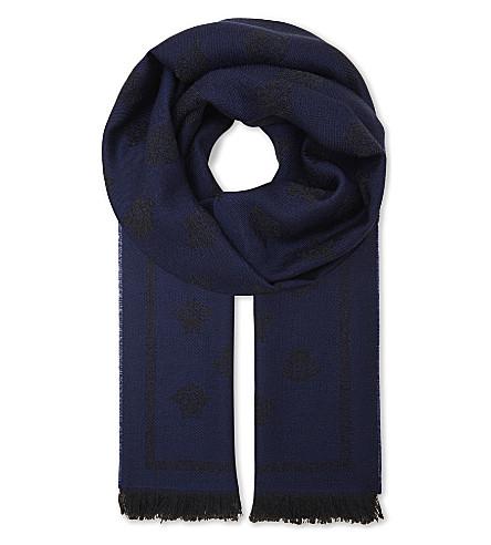 VERSACE Medusa print wool scarf (Bluette