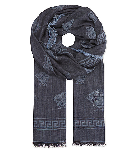 VERSACE Mini Medusa and Greco silk-wool scarf (Black/navy