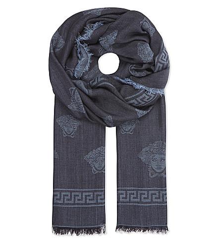 VERSACE Mini Medusa and Greco silk-wool scarf (Black/navy