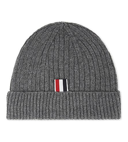 THOM BROWNE Four-bar stripe cashmere beanie (Med+grey