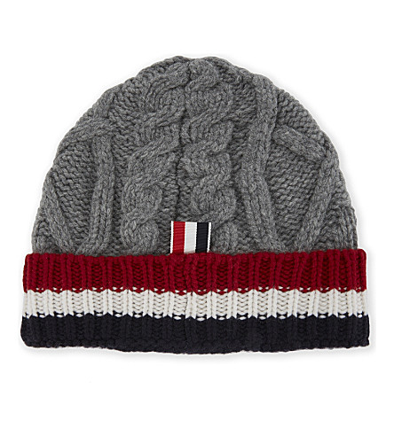 THOM BROWNE Striped cuff cable-knit wool beanie (Light+grey
