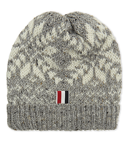 THOM BROWNE Snowflake wool-mohair beanie (Light+grey