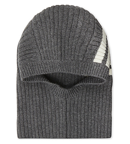 THOM BROWNE Striped ribbed cashmere balaclava (Med+grey