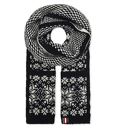 THOM BROWNE Snowflake fair isle wool-mohair scarf (Navy