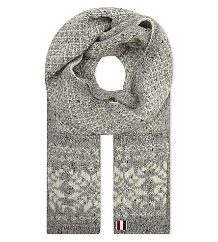 THOM BROWNE Snowflake fair isle wool-mohair scarf (Light+grey