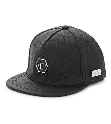PHILIPP PLEIN Jason grained baseball cap (Black/nickel