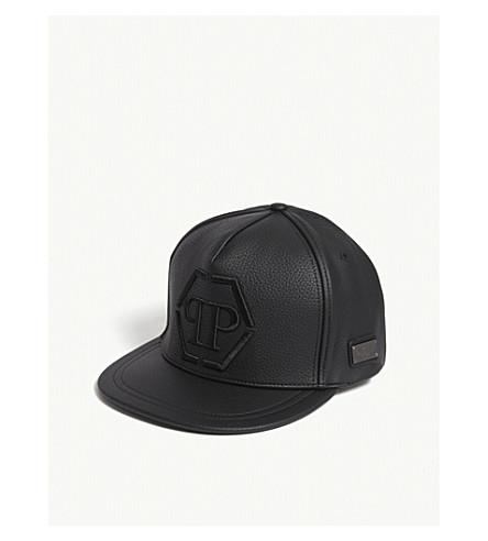 PHILIPP PLEIN Tony logo faux-leather strapback cap (Black