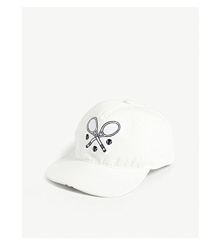 THOM BROWNE Tennis cotton strapback cap (White