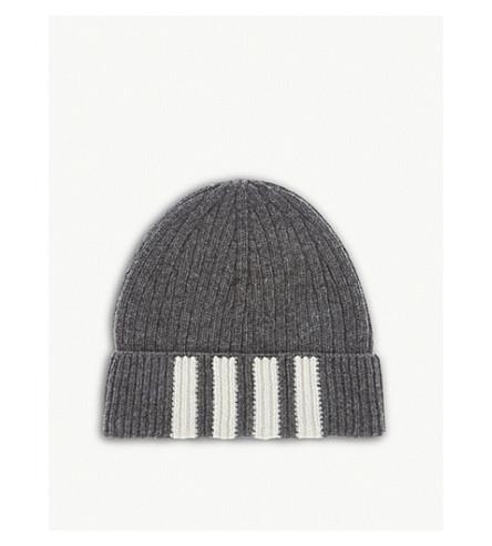 THOM BROWNE Four bar stripe ribbed merino wool beanie (Med+grey