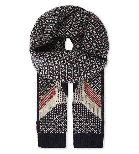THOM BROWNE Penguin wool-blend knitted scarf (Navy