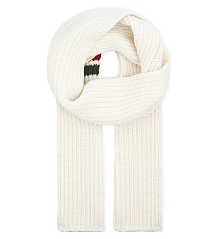 THOM BROWNE Striped wool scarf (White