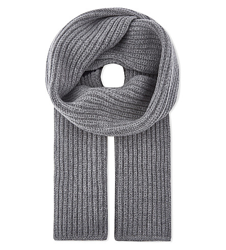 THOM BROWNE Striped ribbed wool scarf (Light+grey