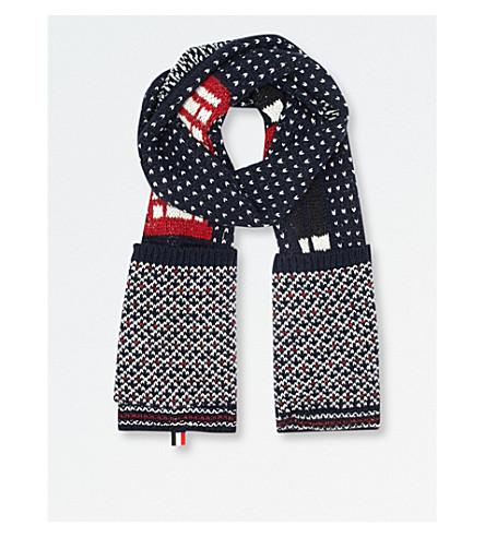 THOM BROWNE London-jacquard wool-blend scarf (Navy