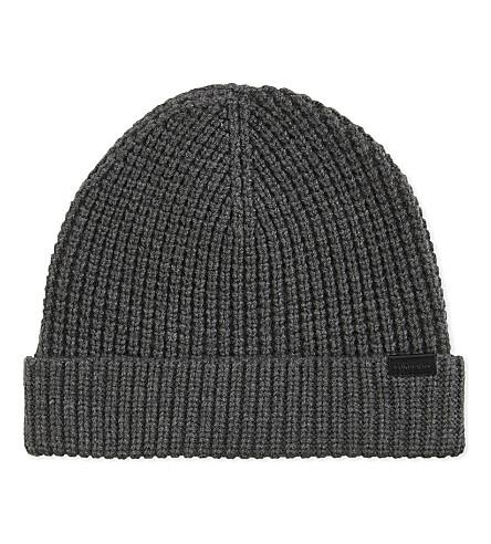 BURBERRY Cashmere waffle knit beanie (Mid+grey