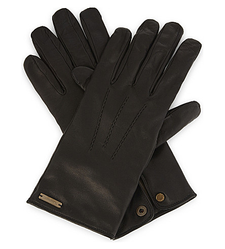 BURBERRY House check leather gloves (Black