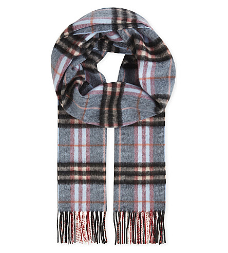 BURBERRY Castleford check cashmere scarf (Pale+carbon+blue