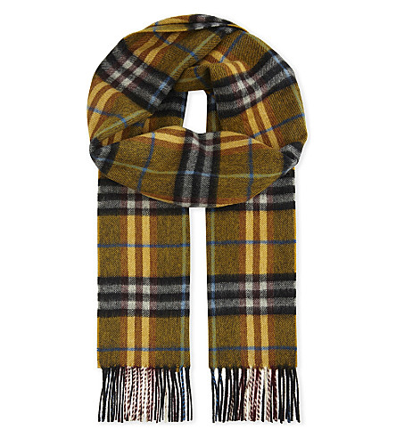 BURBERRY Castleford cashmere check scarf (Amber+yellow
