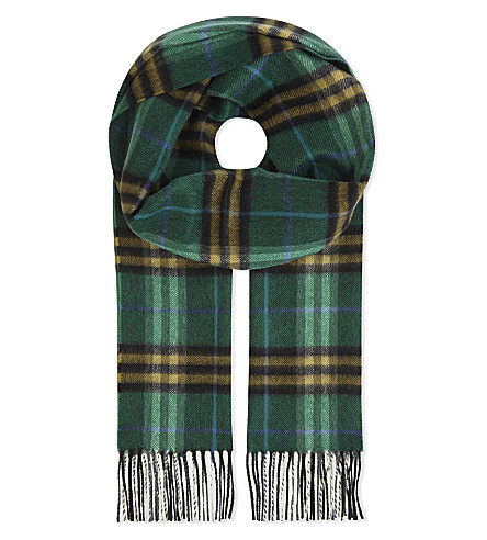 BURBERRY Castleford cashmere check scarf (Forest+green