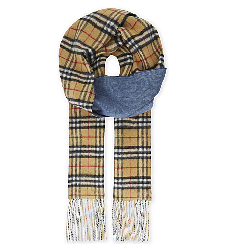 BURBERRY Vintage check reversible cashmere scarf (Stone+blue