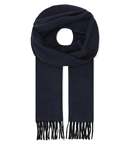LANVIN Logo embroidered cashmere scarf (Blue