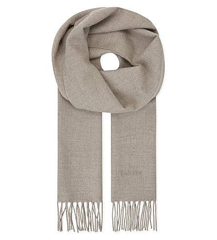 LANVIN Logo embroidered wool scarf (Beige
