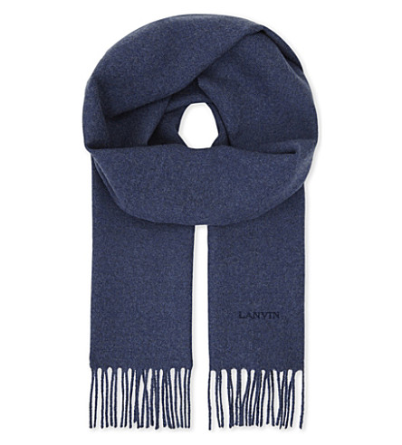 LANVIN Logo embroidered wool scarf (Blue