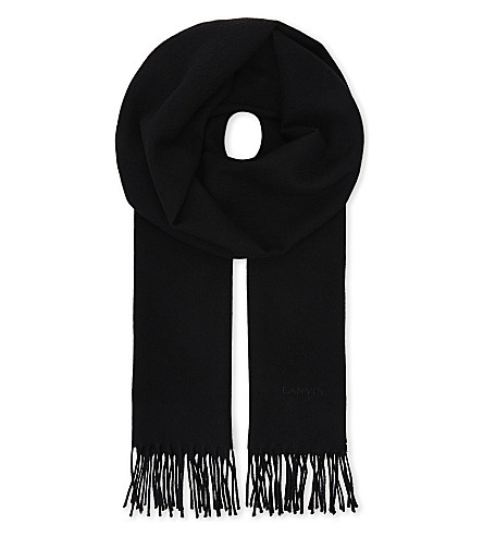 LANVIN Logo embroidered wool scarf (Black