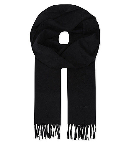 LANVIN Logo embroidered cashmere scarf (Black