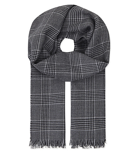 LANVIN Checked wool scarf (Grey
