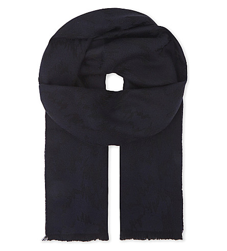 LANVIN Abstract print wool scarf (Black